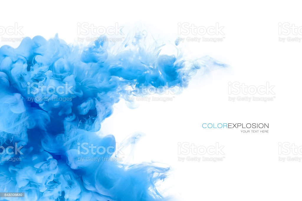 Blue Acrylic Ink in Water. Color Explosion. Paint Texture stock photo