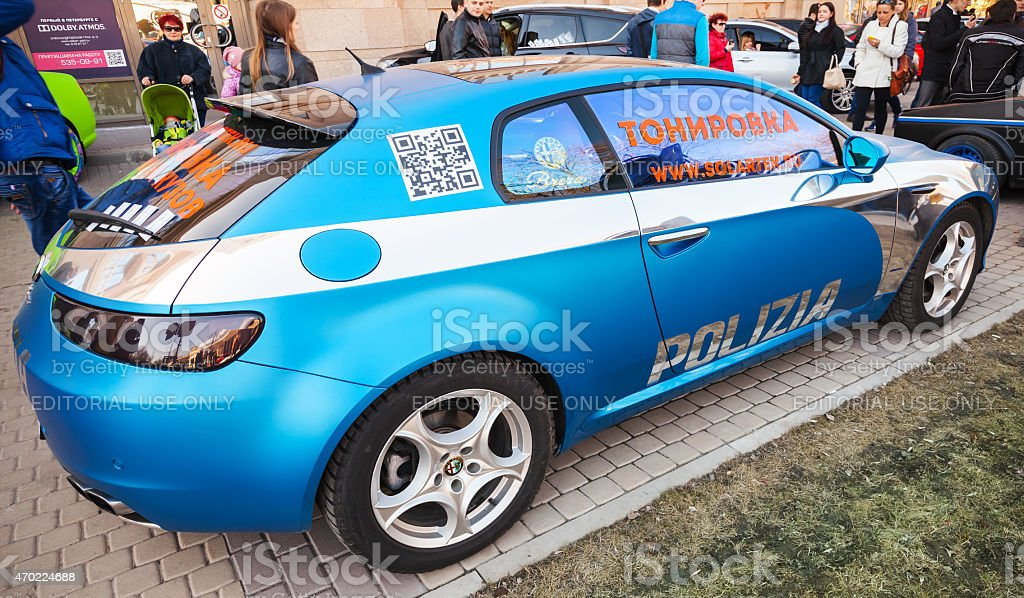 Blue Afla Romeo Brera car with silver paintings elements stock photo