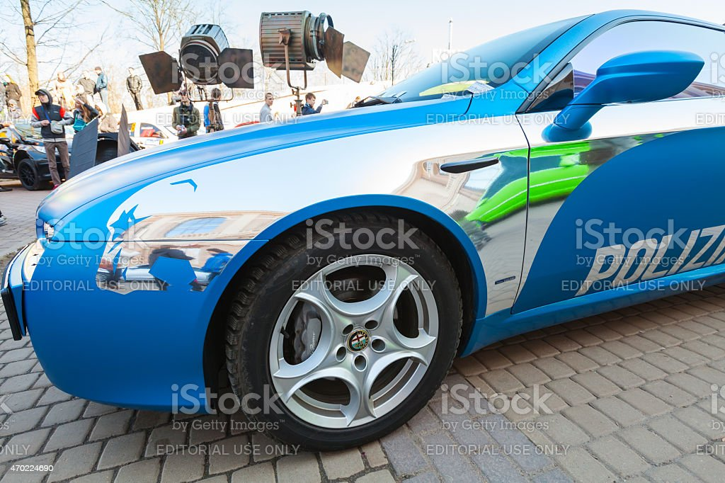 Blue Afla Romeo Brera car with silver paintings lines stock photo