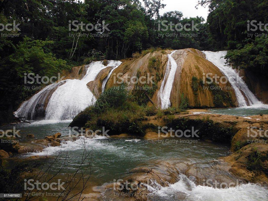 Blue Agua Azul Cascades in Chiapas, Mexico stock photo
