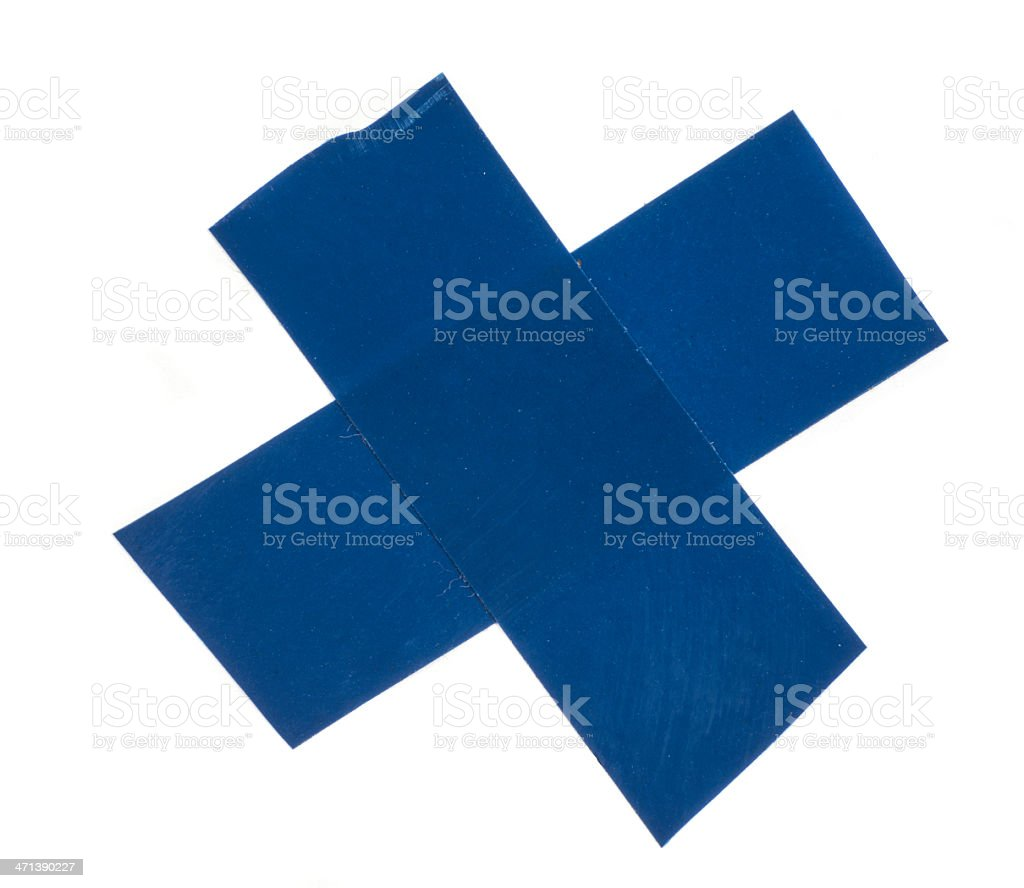 blue ahesive tape cross royalty-free stock photo