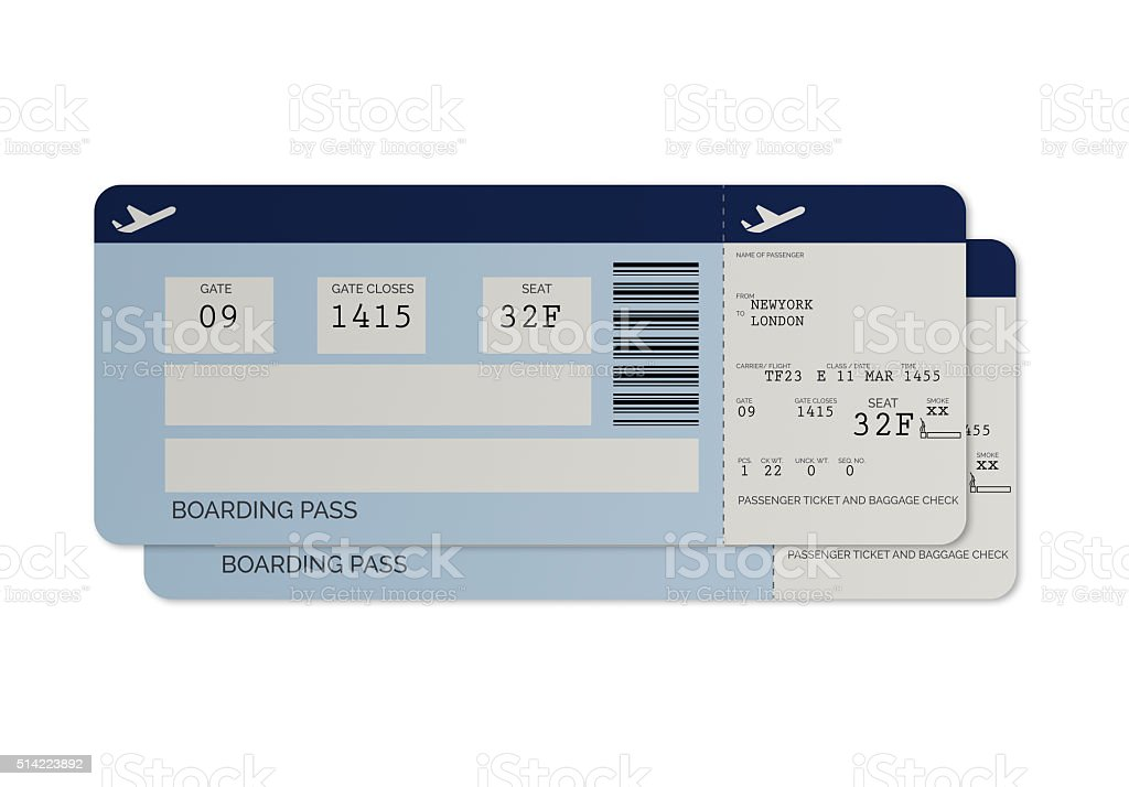 Blue Airline Tickets - Boarding Pass stock photo