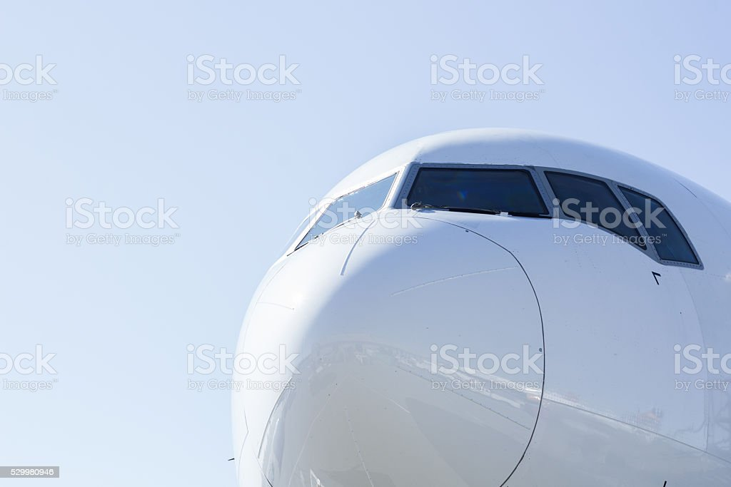 Blue Airliner stock photo