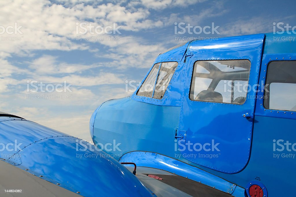 blue airplane royalty-free stock photo