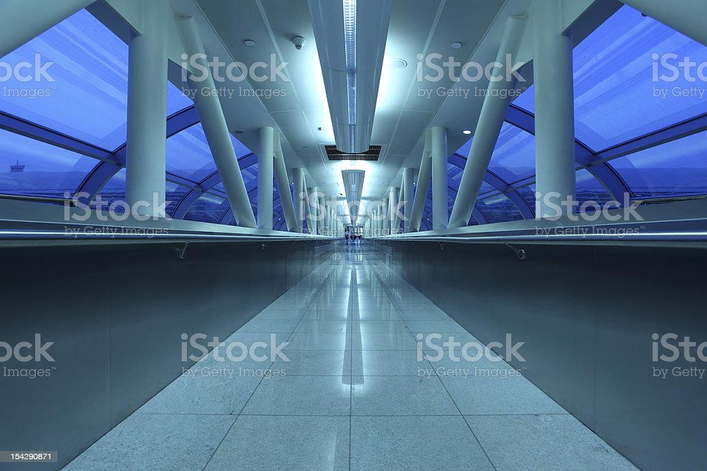 Blue airport gangway royalty-free stock photo