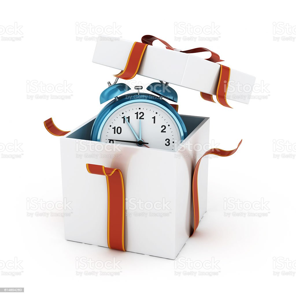 Blue Alarm Clock in White Gift Box - Clipping Path stock photo