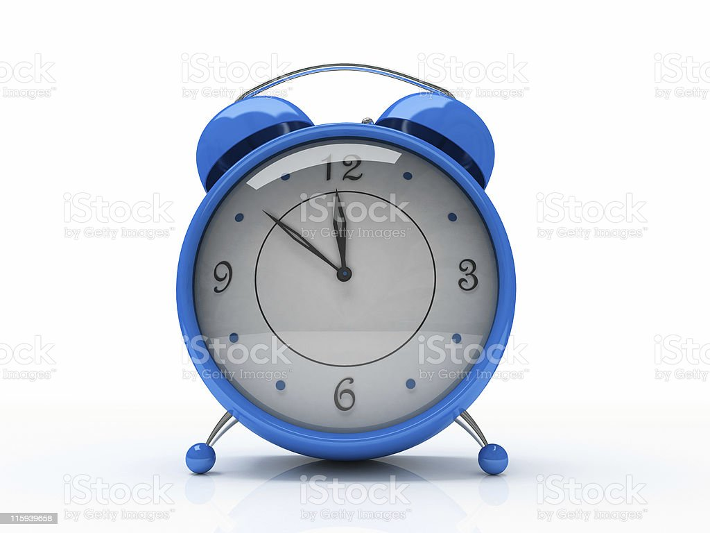 Blue alarm clock isolated on white background 3D royalty-free stock photo