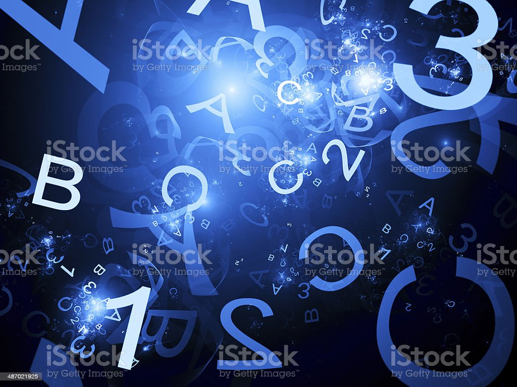 Blue alphabet and one two three numbers royalty-free stock photo