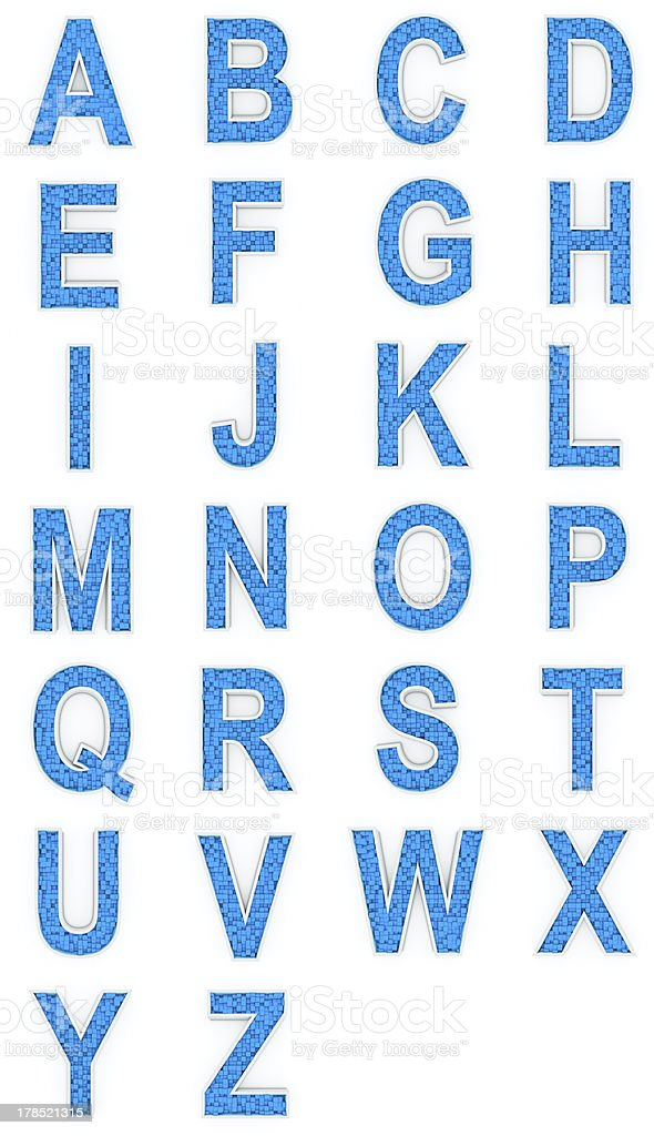 Blue alphabet from cubes. royalty-free stock photo