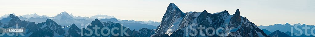 Blue Alpine dawn panorama royalty-free stock photo