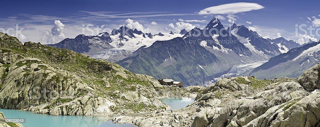 Blue Alpine lake glacier pinnacles royalty-free stock photo