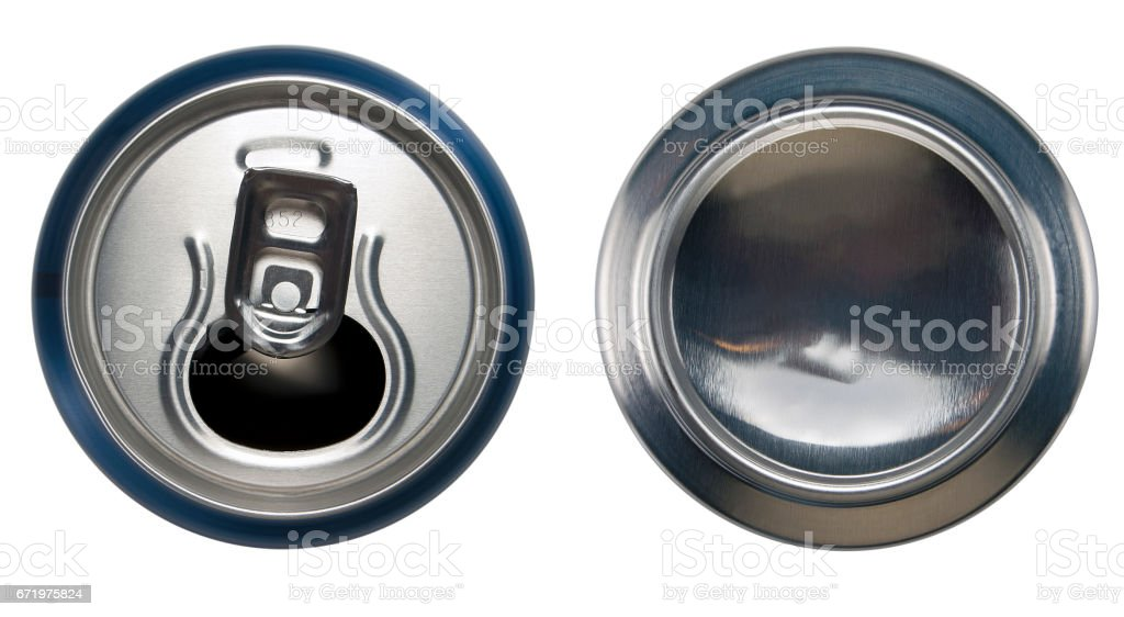 Blue aluminium open can and bottom can stock photo