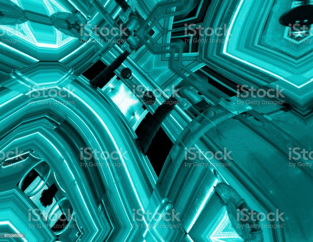 Blue aluminum background. Metal pipes and abstract technological components. industrial concept. stock photo