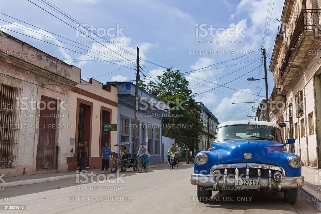 Blue american Buick parked on the street in Havana Cuba stock photo