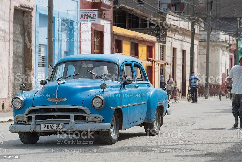 Blue american Chevrolet on the street in Santa Clara Cuba stock photo