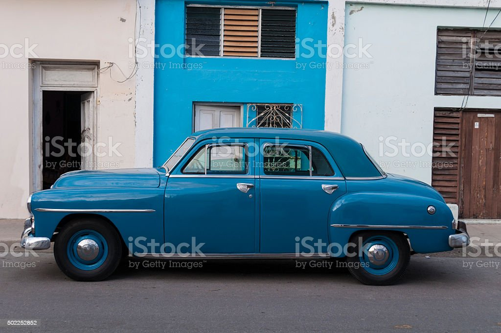 Blue American classic car. stock photo