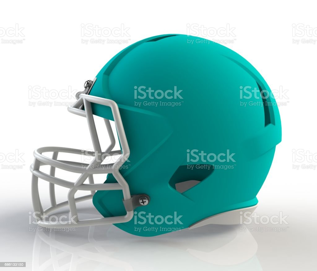 Blue american football helmet side view on a white background with detailed clipping path, 3D rendering stock photo