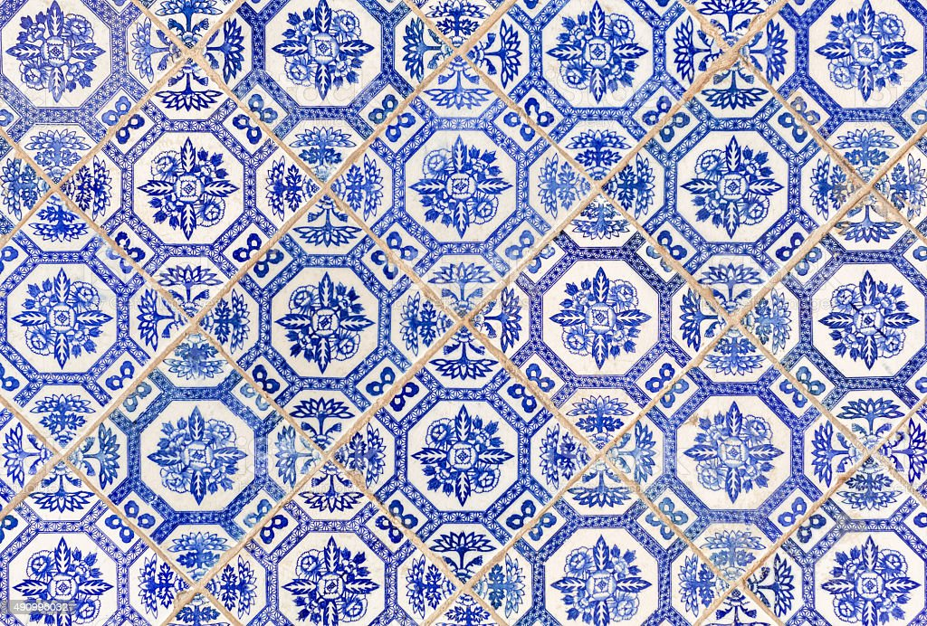 Blue ancient Chinese style floor tiles stock photo