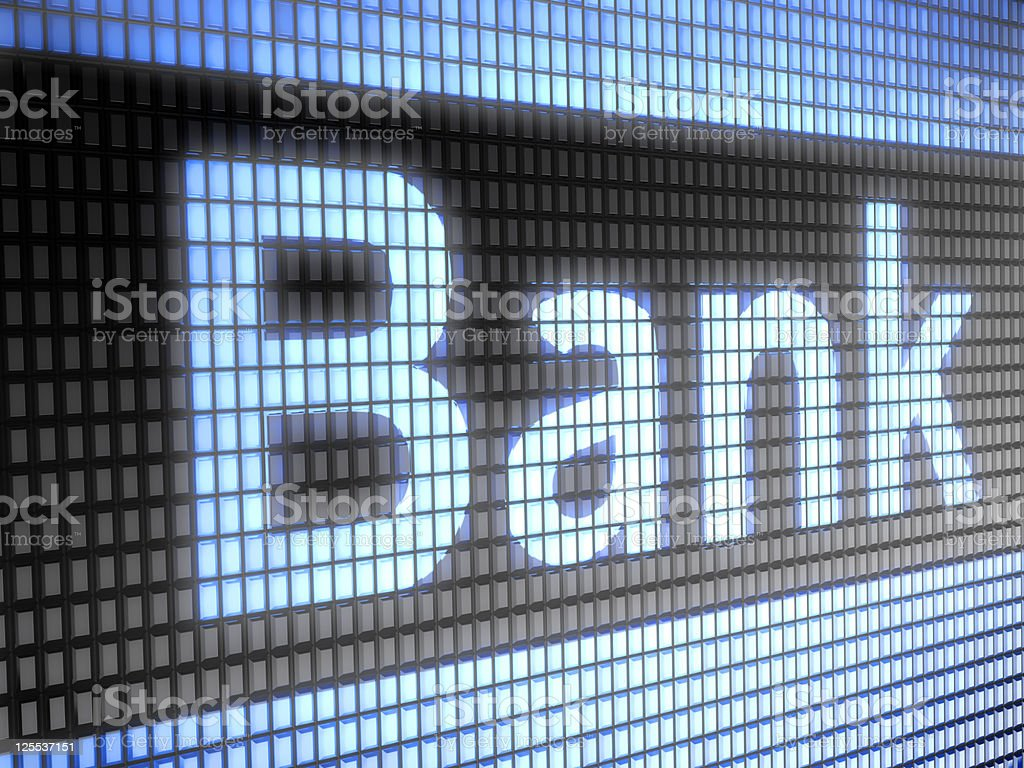 Blue and black bank technology background stock photo
