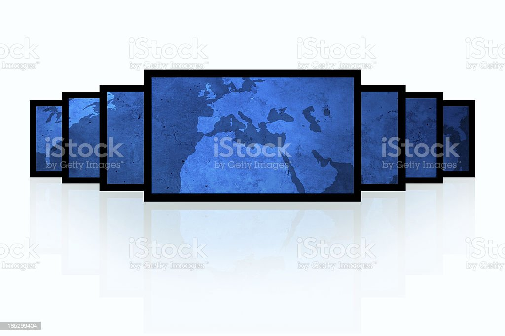 Blue and black digital world - Europe royalty-free stock photo