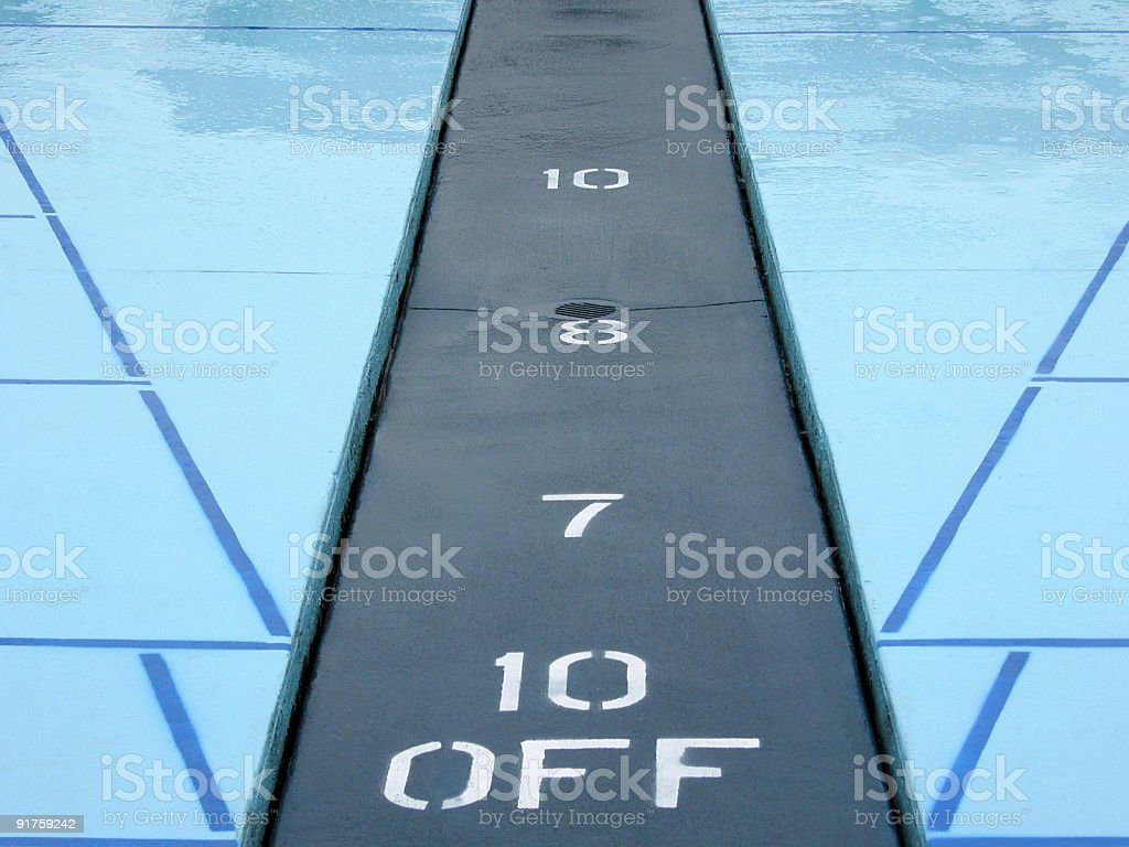 Blue and Black Shuffleboard Courts stock photo