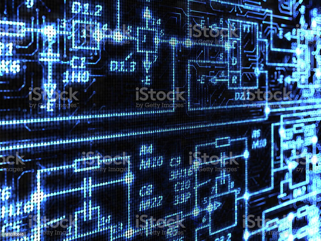 A blue and black technology background stock photo