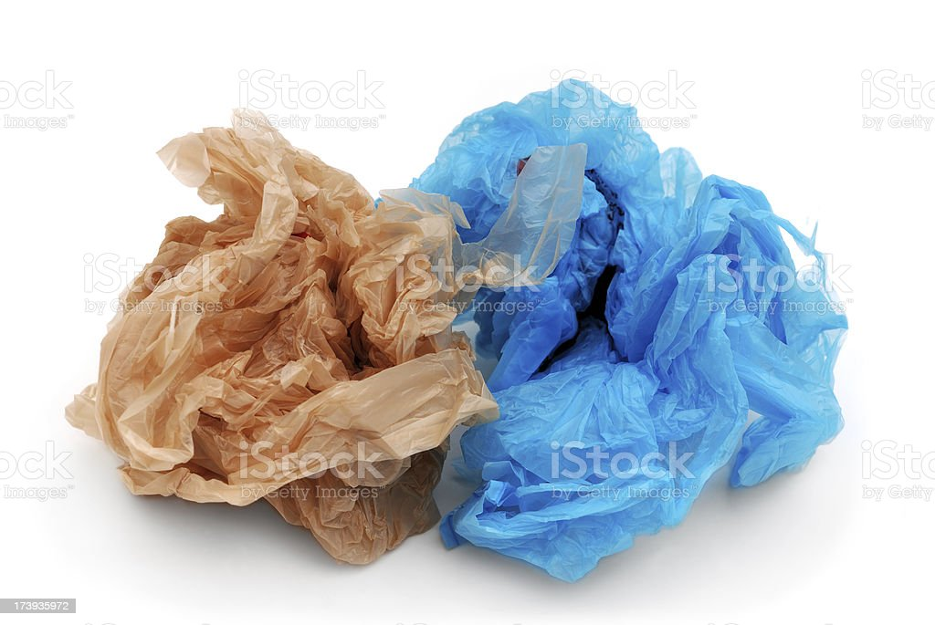 Blue and brown plastic grocery bags stock photo
