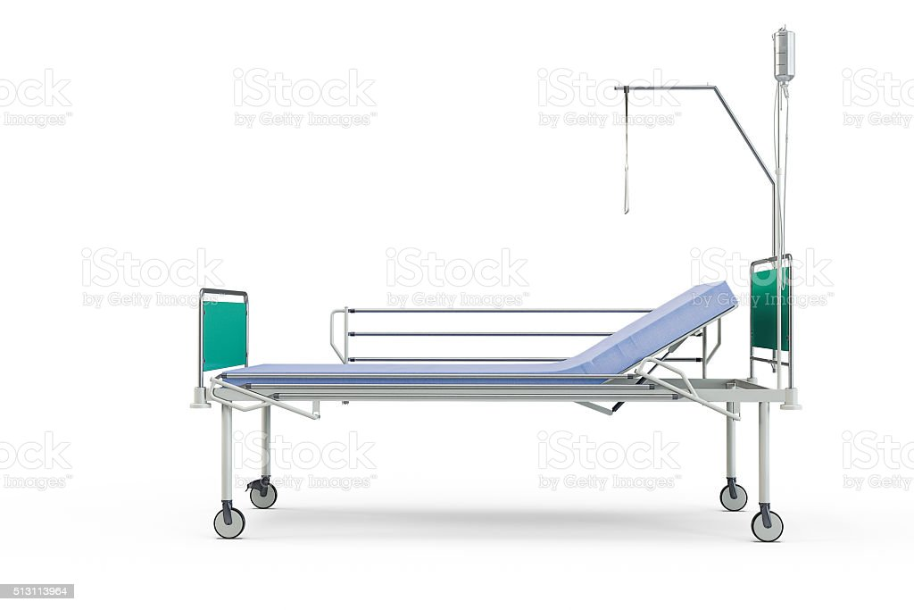 Blue and chrome mobile hospital bed with recliner stock photo