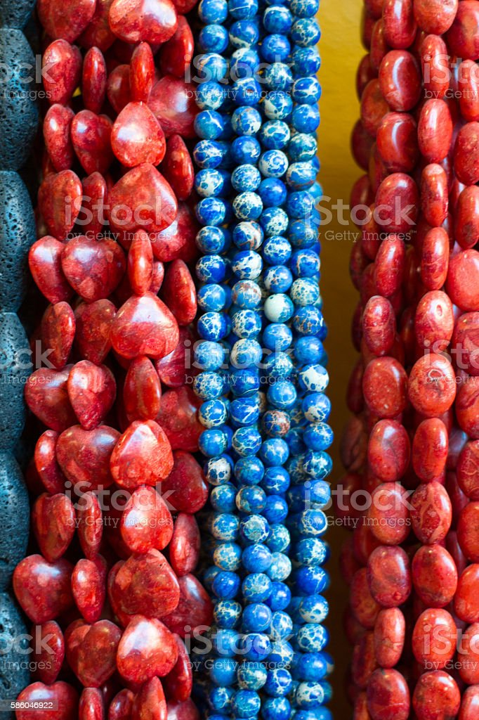 Blue and Coral Beads and Necklaces (Close-Up) stock photo