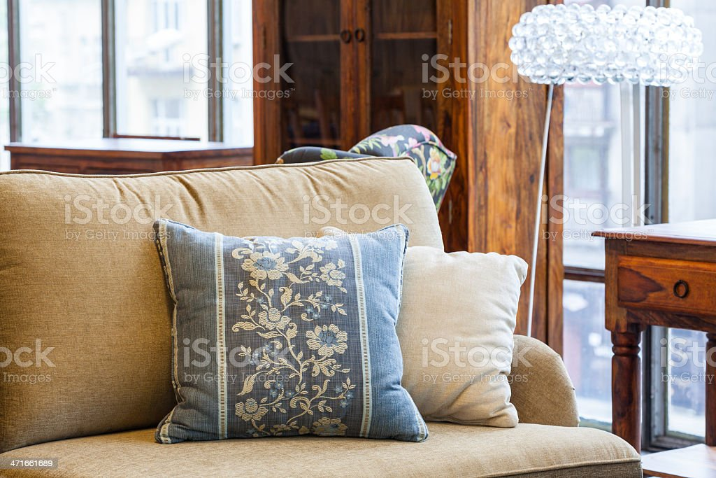 Blue and cream pillows royalty-free stock photo