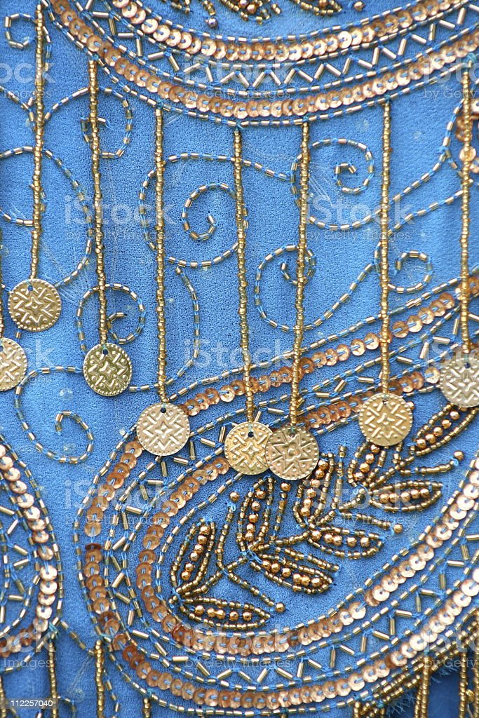 Blue and Gold Costume Close Up royalty-free stock photo