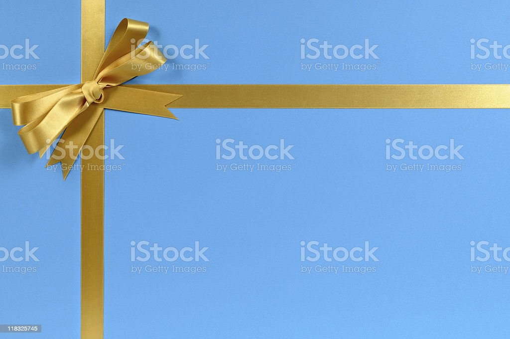 Blue and gold gift royalty-free stock photo