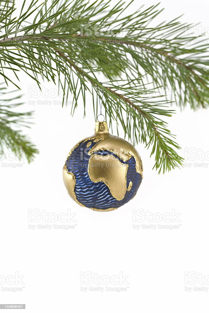 Blue and Gold Globe Christmas Ornament showing Europe, Africa royalty-free stock photo