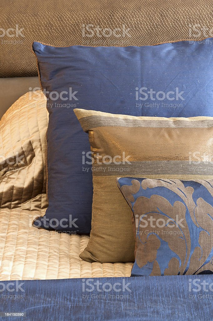 blue and gold silk cushions royalty-free stock photo