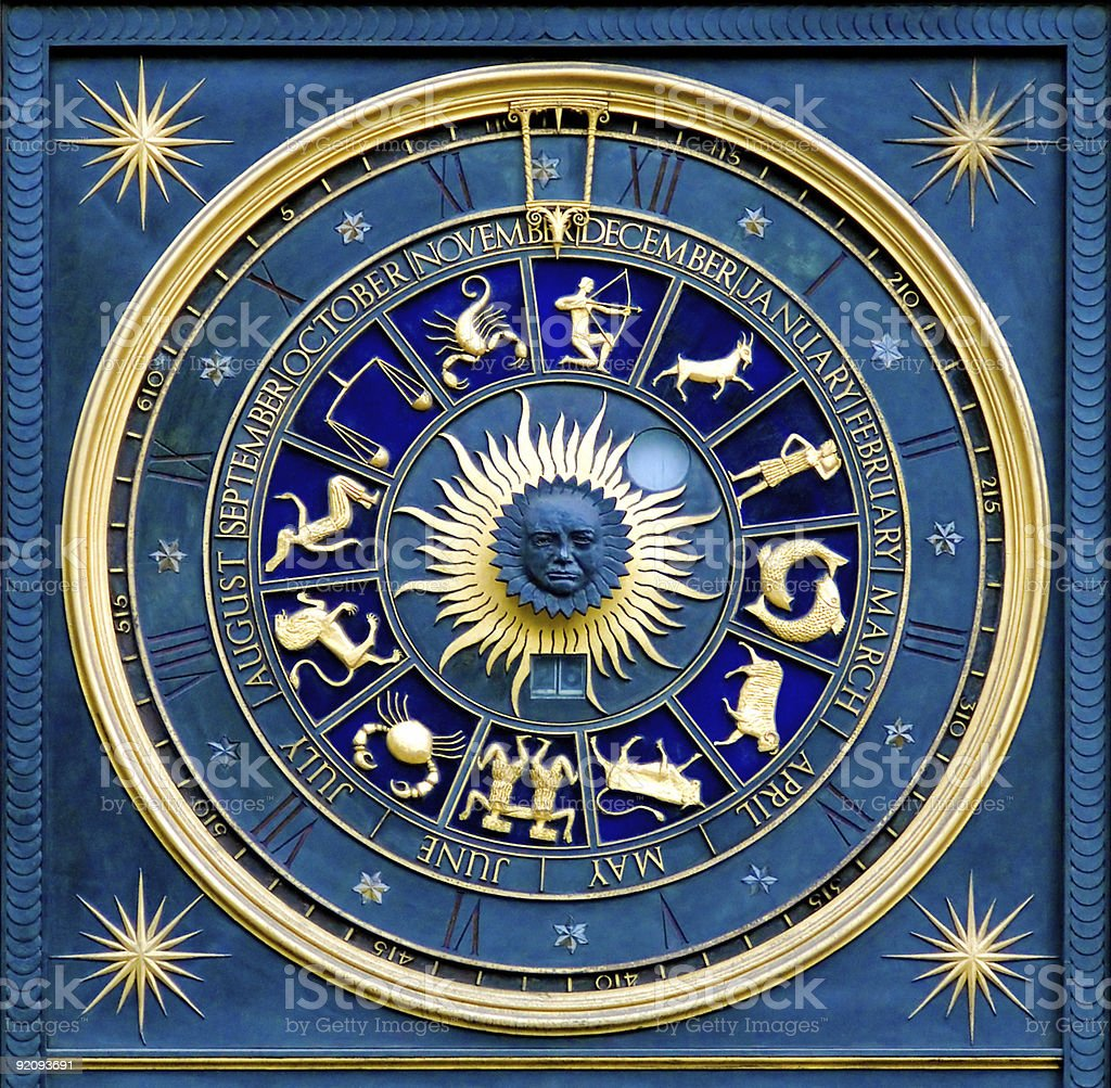 Blue and gold Zodiac chart background stock photo