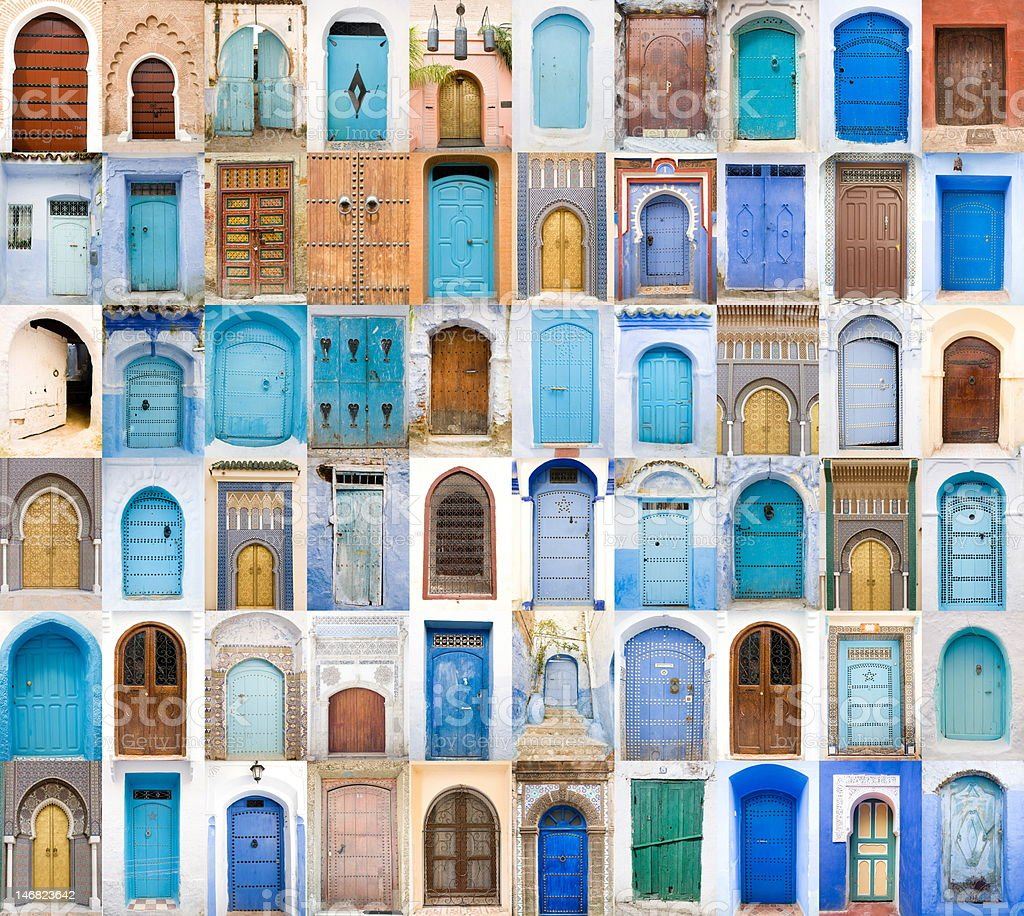 Blue and Golden doors of Morocco stock photo