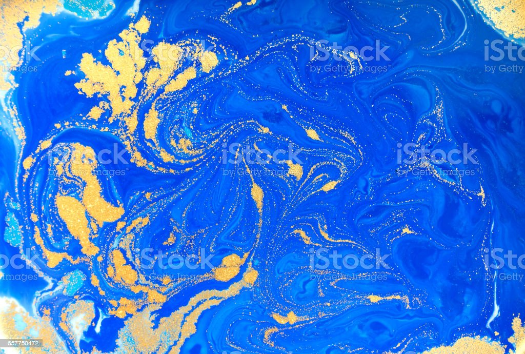 Blue and golden liquid texture, watercolor hand drawn marbling illustration, abstract background stock photo