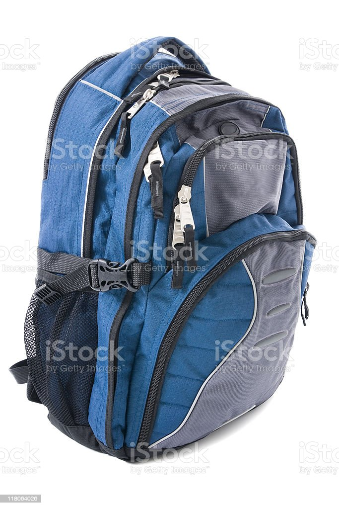 Blue and gray backpack isolated on white backdrop royalty-free stock photo