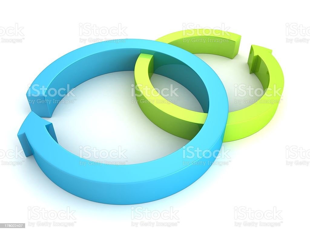 Process cycling arrow by arrow royalty free stock images image - Blue And Green Cycled Process Arrows On White Royalty Free Stock Photo