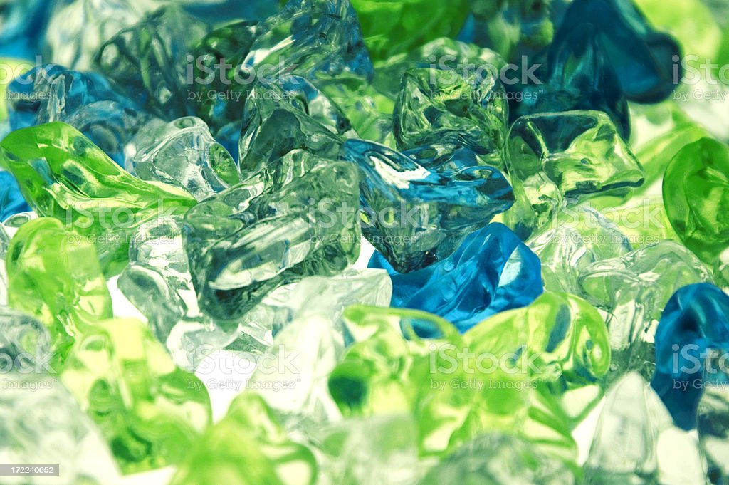 Blue and Green Glass Pebbles royalty-free stock photo