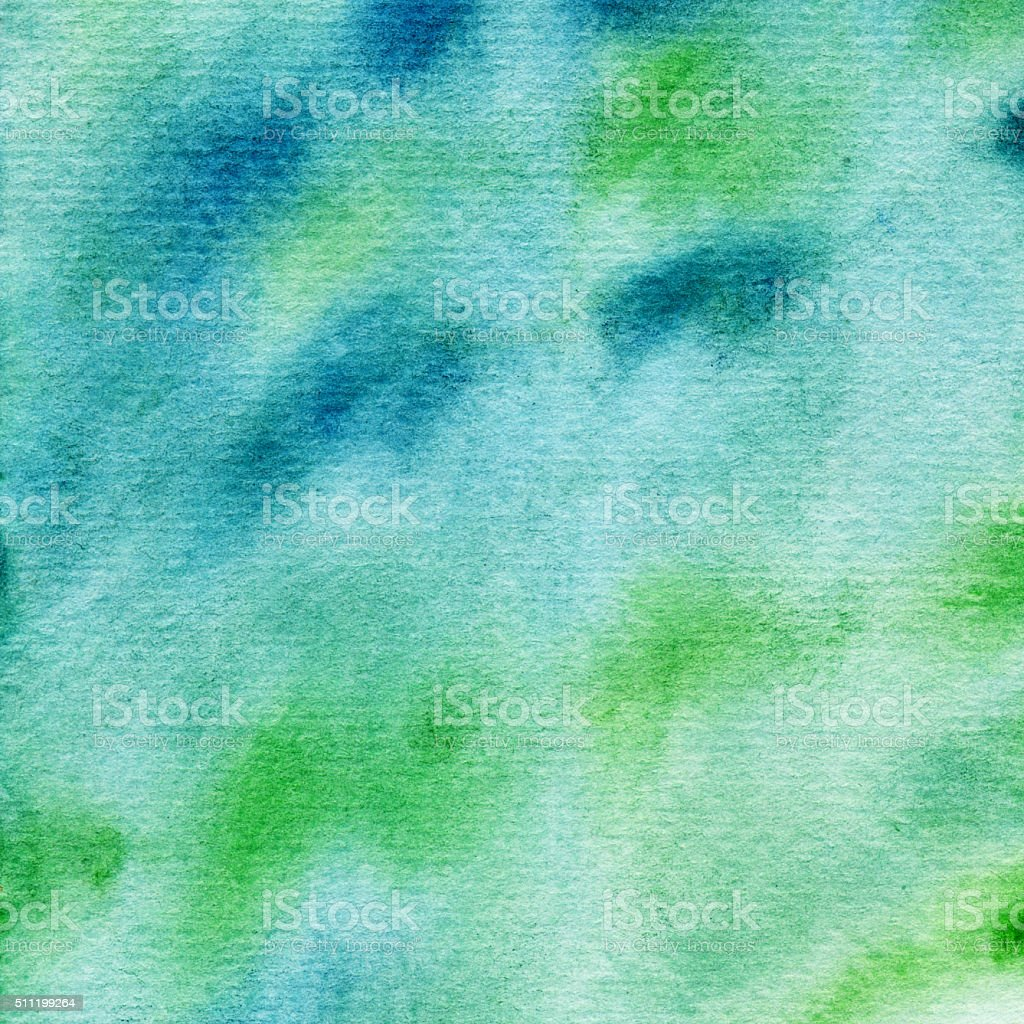 Blue and green hand painted textured background stock photo