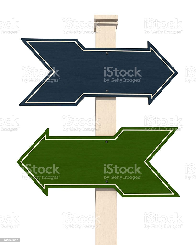 blue and green  wooden arrow stock photo