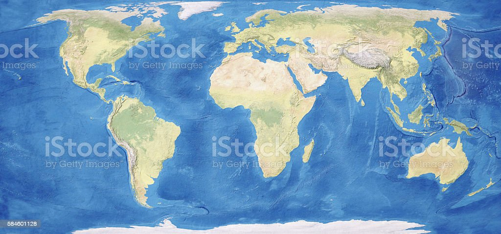 Blue and green World map on plaster texture. XXXL size concept image,...