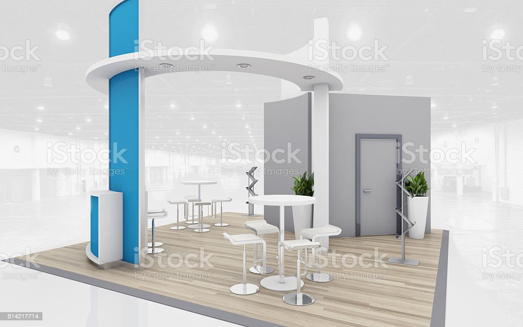 Blue and Grey Exhibition Stand 3d Rendering stock photo
