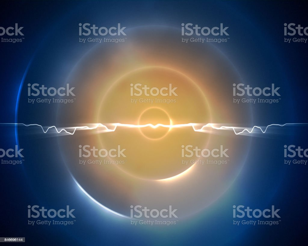 Blue and light orange circle with a lightning in the middle stock photo