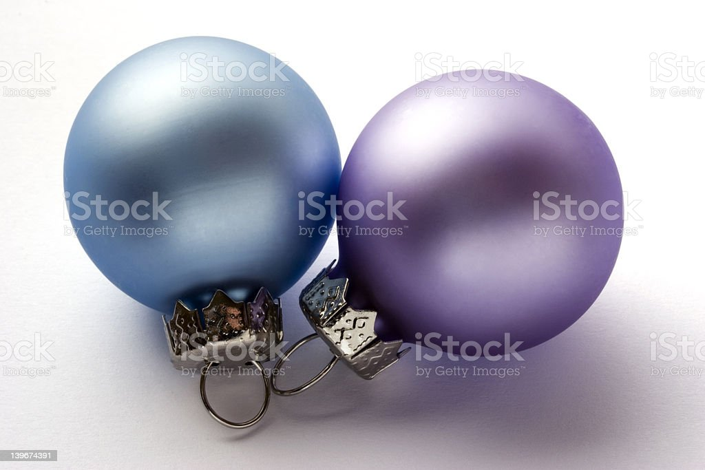 Blue and Lilac Christmas Baubles royalty-free stock photo