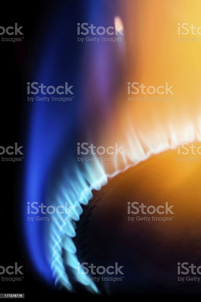 Blue and Orange Gas Flame stock photo