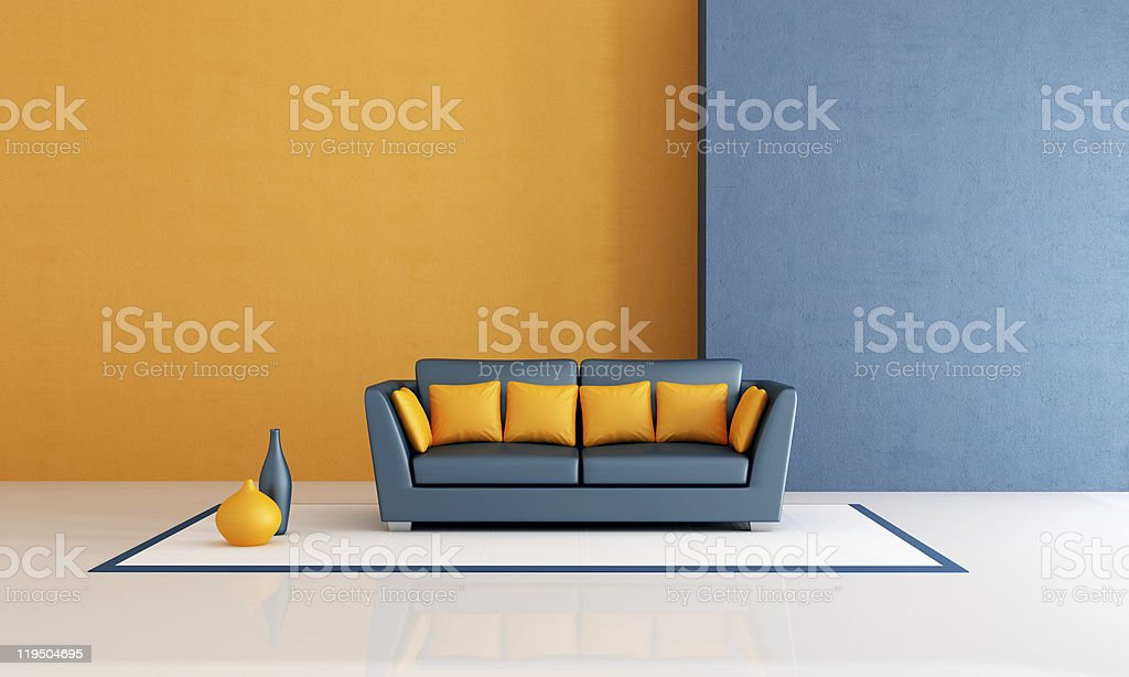 blue and orange living room royalty-free stock photo