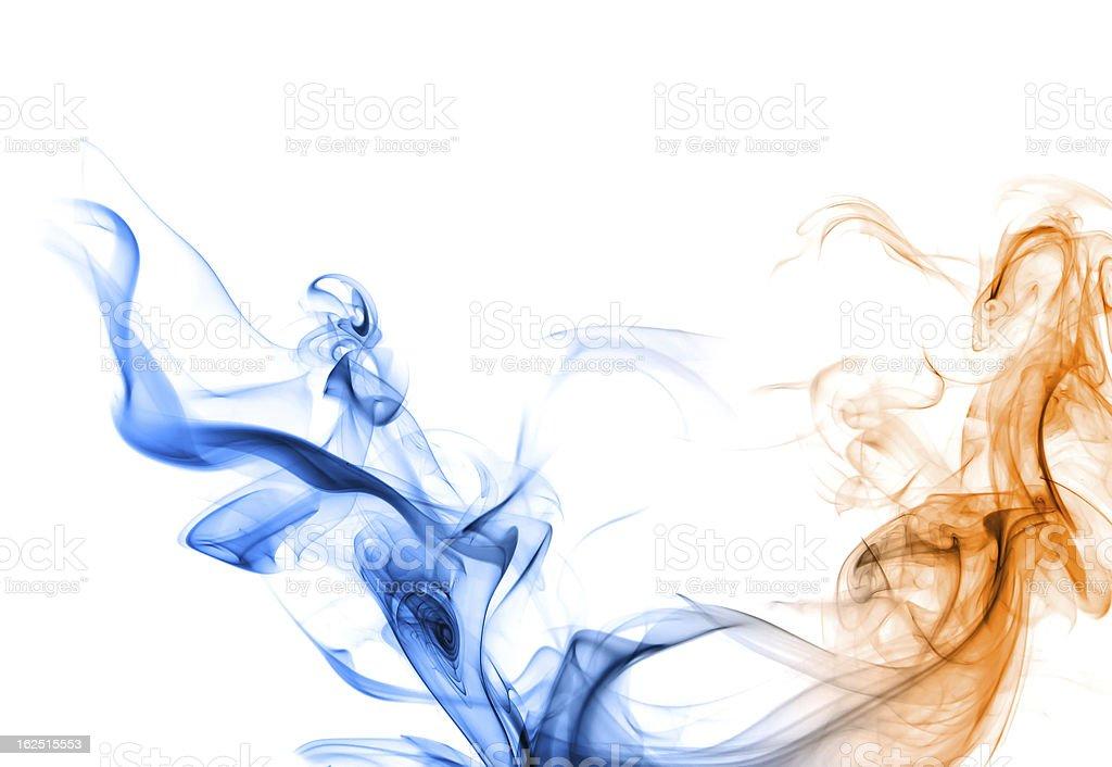 Blue and orange smoke. royalty-free stock photo