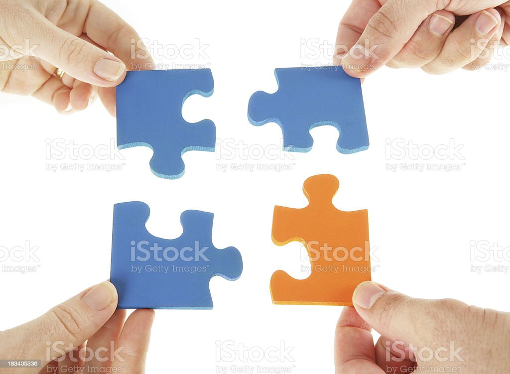 Blue and Orange Teamwork royalty-free stock photo